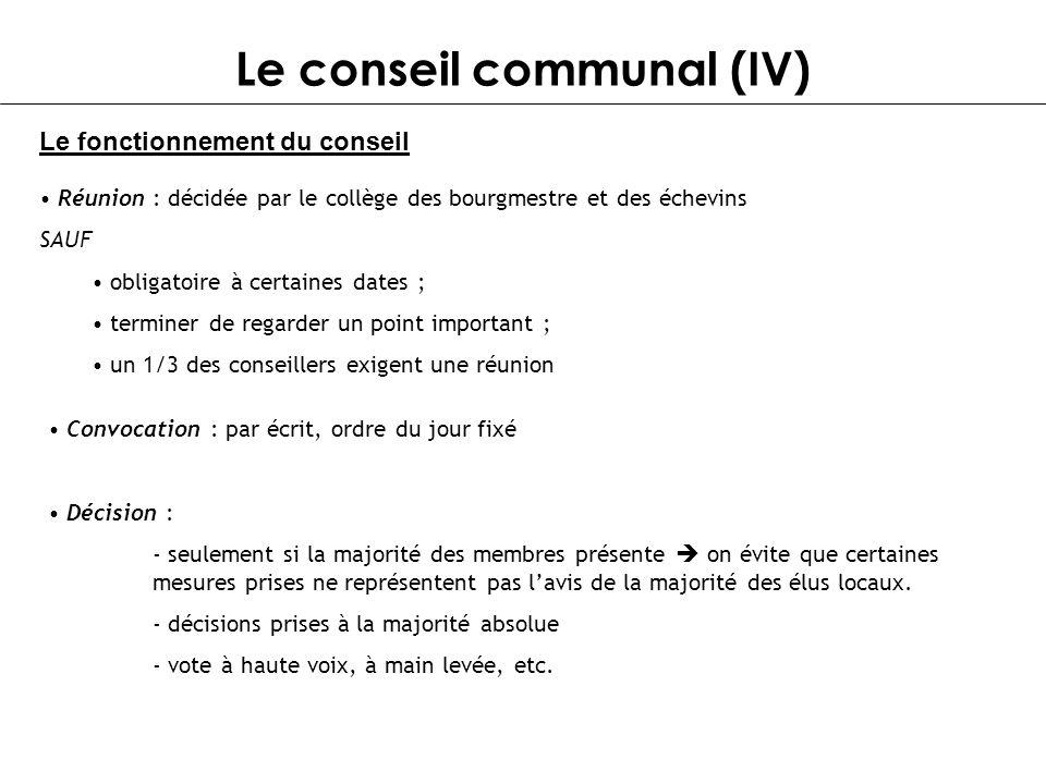 Le conseil communal (IV)