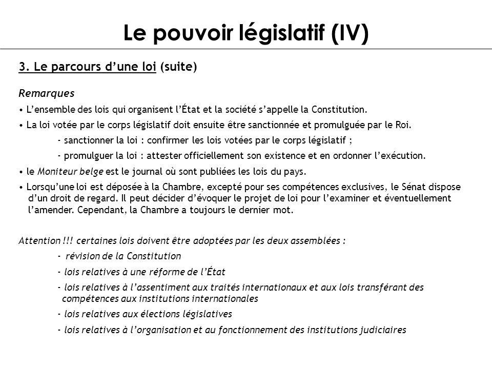 Le pouvoir législatif (IV)