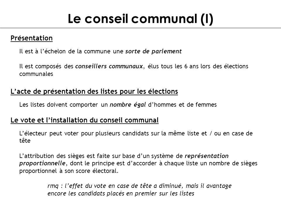 Le conseil communal (I)