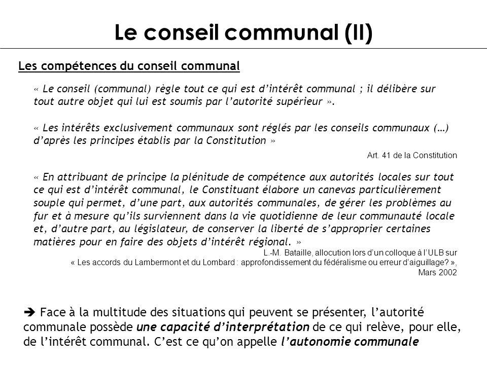 Le conseil communal (II)
