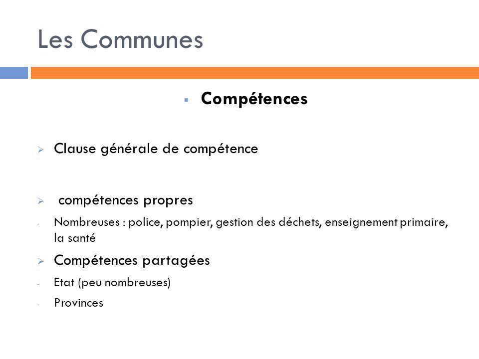 Les Communes Compétences Clause générale de compétence