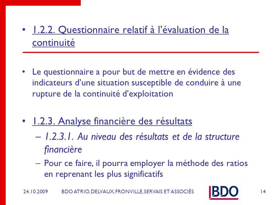 1.2.2. Questionnaire relatif à l'évaluation de la continuité