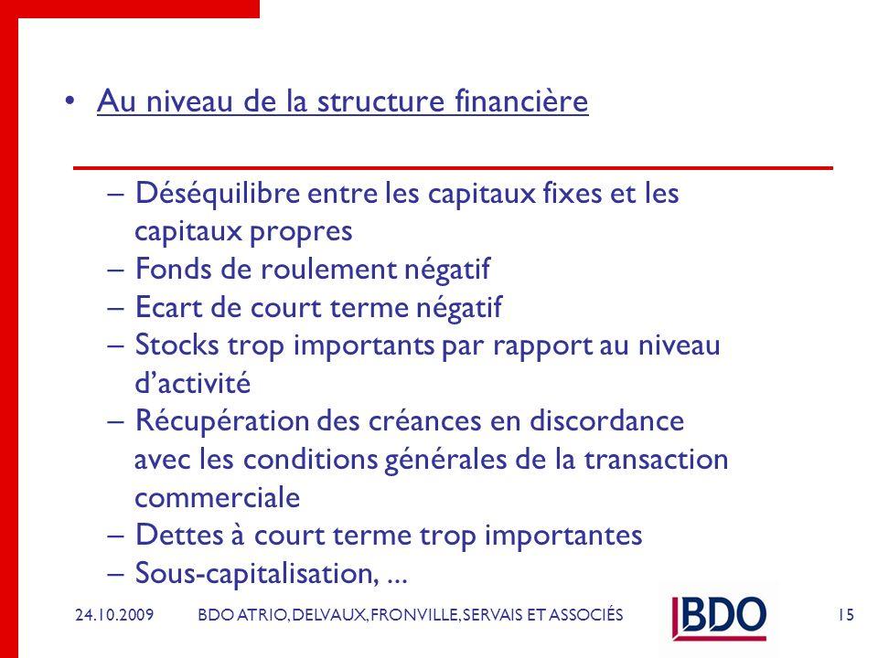 Au niveau de la structure financière