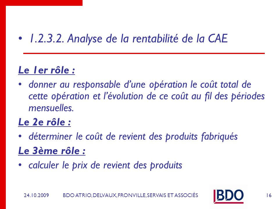 1.2.3.2. Analyse de la rentabilité de la CAE