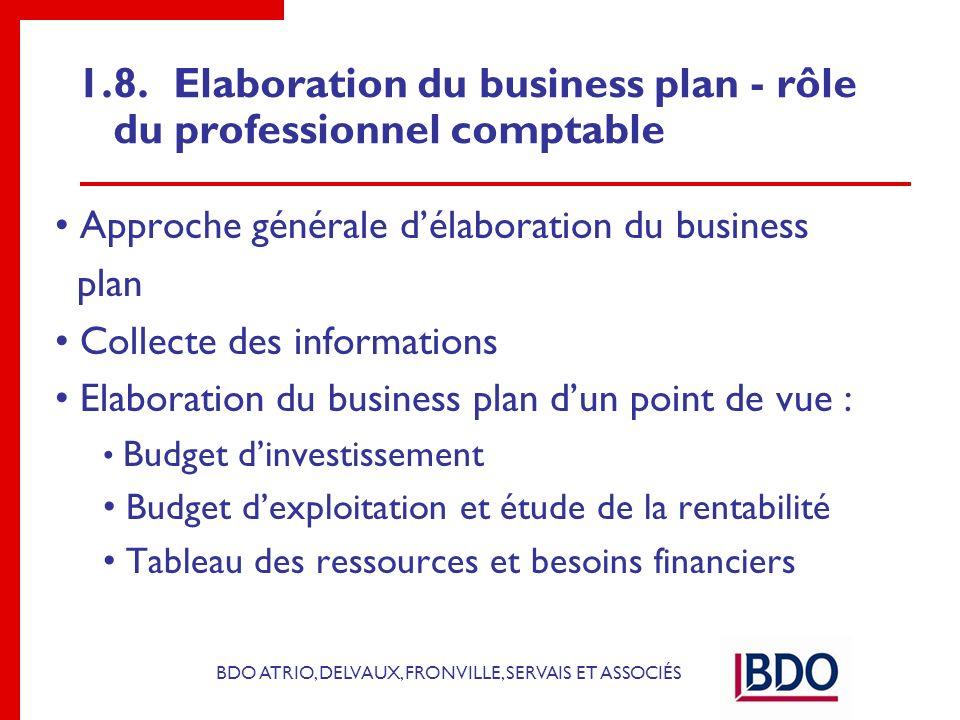 1.8. Elaboration du business plan - rôle du professionnel comptable