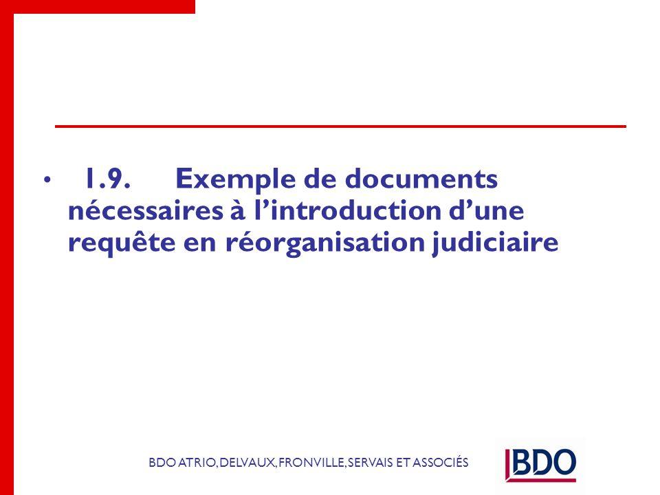 1.9. Exemple de documents nécessaires à l'introduction d'une requête en réorganisation judiciaire