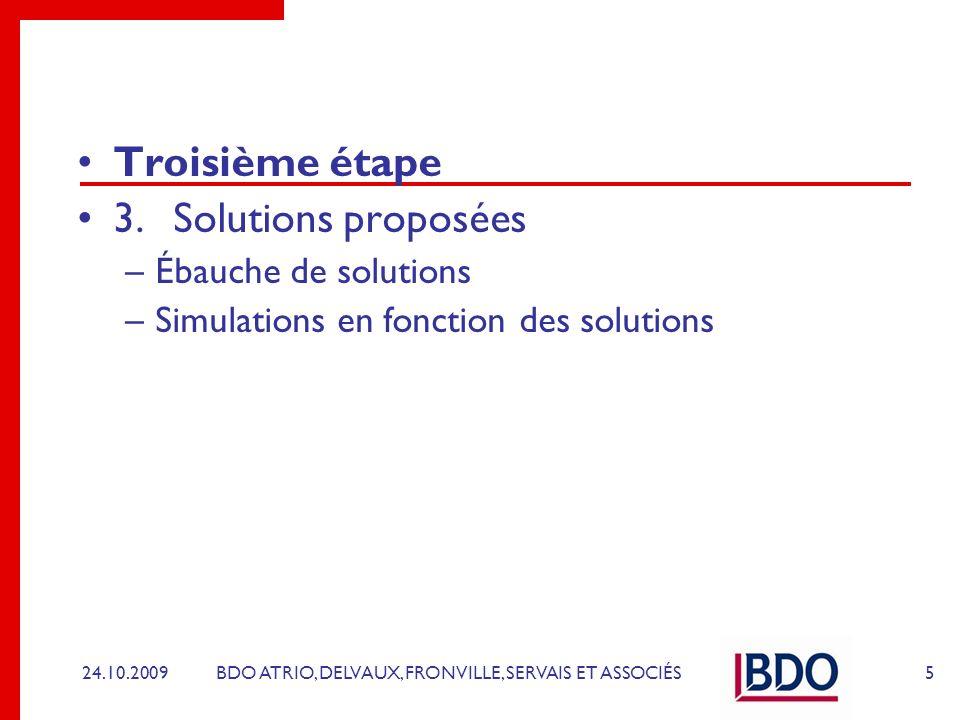 Troisième étape 3. Solutions proposées Ébauche de solutions