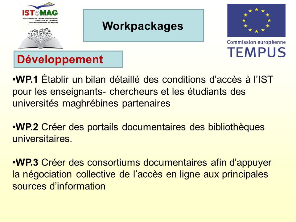 Workpackages Développement