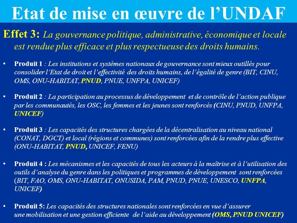 Etat de mise en œuvre de l'UNDAF