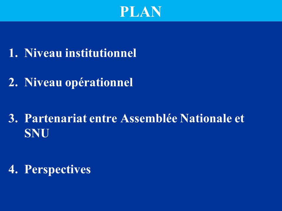 PLAN Niveau institutionnel Niveau opérationnel