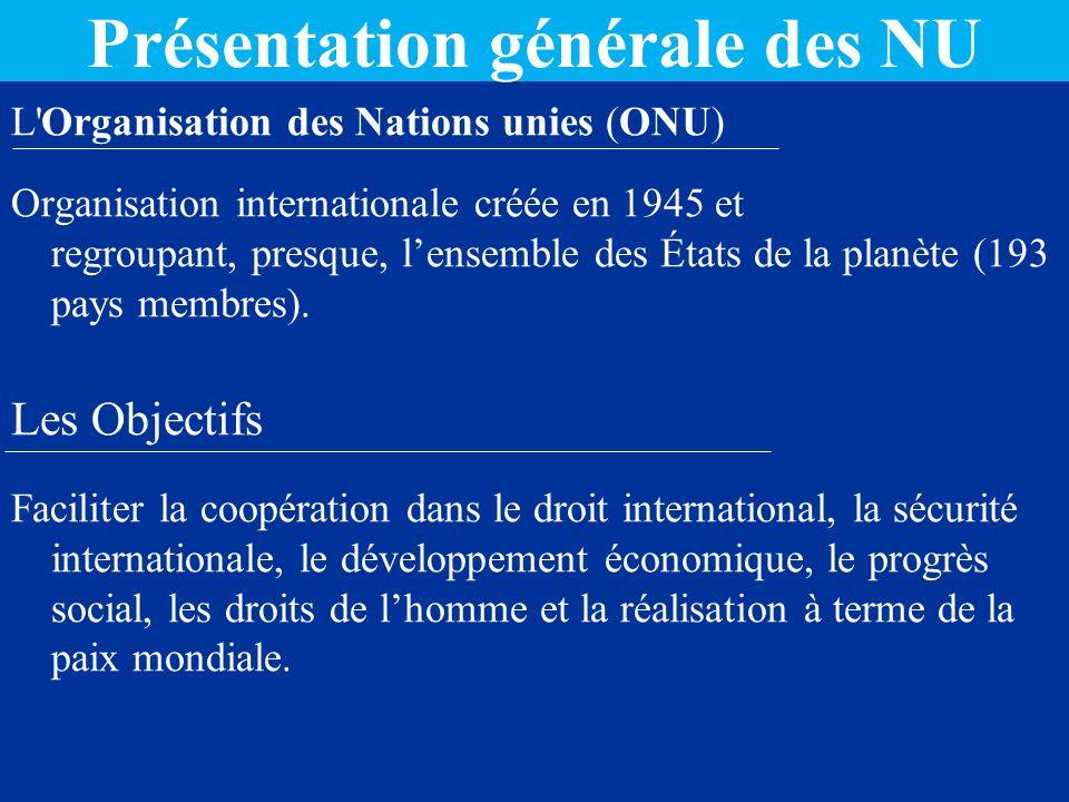 Présentation générale des NU
