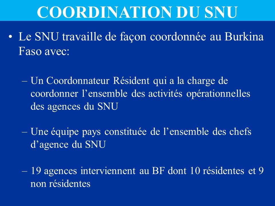 COORDINATION DU SNU Le SNU travaille de façon coordonnée au Burkina Faso avec: