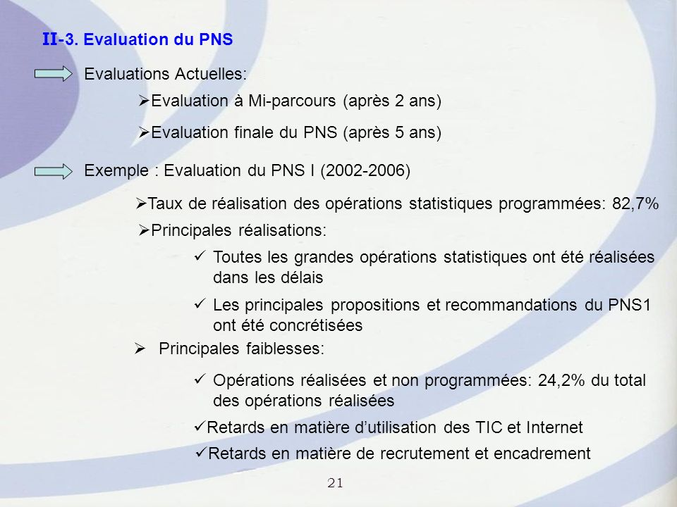 II-3. Evaluation du PNS Evaluations Actuelles: