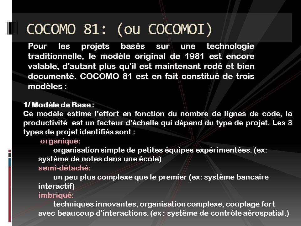 COCOMO 81: (ou COCOMOI)