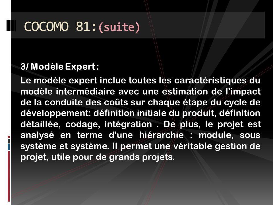 COCOMO 81:(suite) 3/ Modèle Expert :