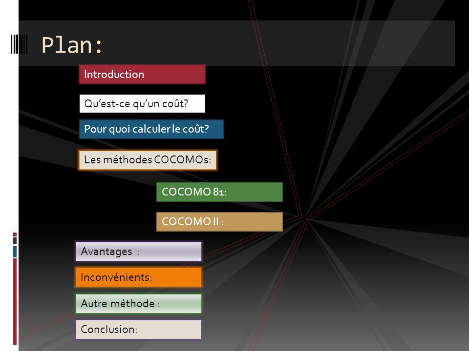 Plan: Introduction Qu'est-ce qu'un coût Pour quoi calculer le coût