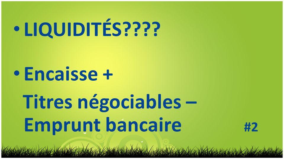LIQUIDITÉS Encaisse + Titres négociables – Emprunt bancaire #2