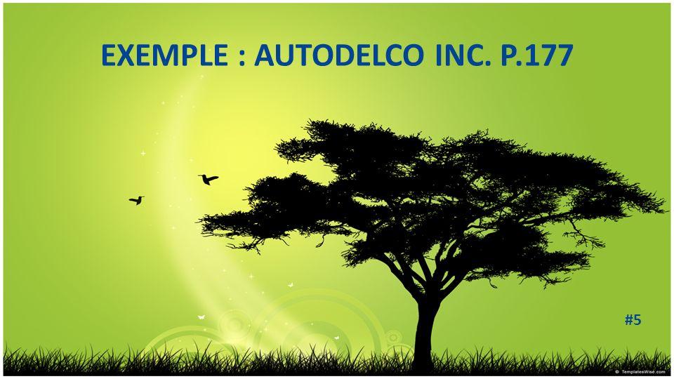 EXEMPLE : AUTODELCO INC. P.177