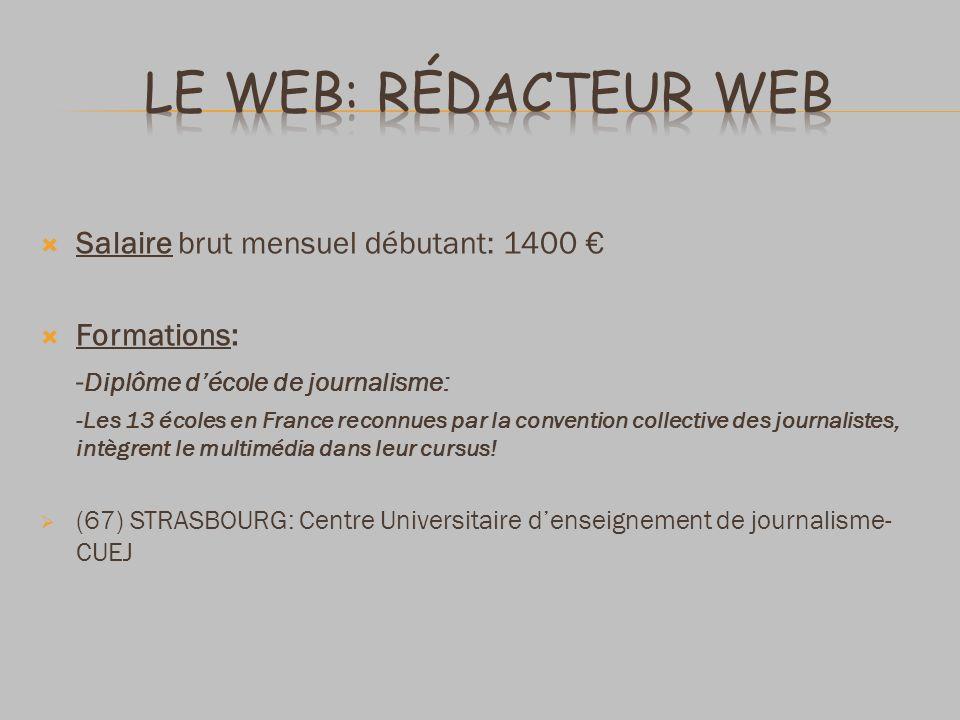 Le Web: Rédacteur Web Salaire brut mensuel débutant: 1400 €