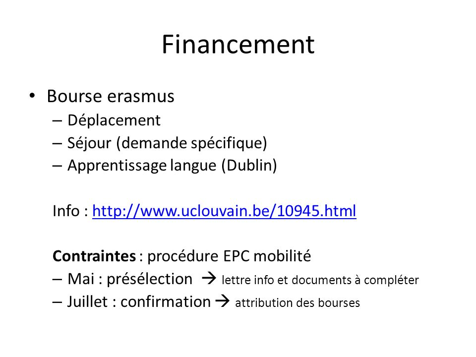 Financement Bourse erasmus Déplacement Séjour (demande spécifique)