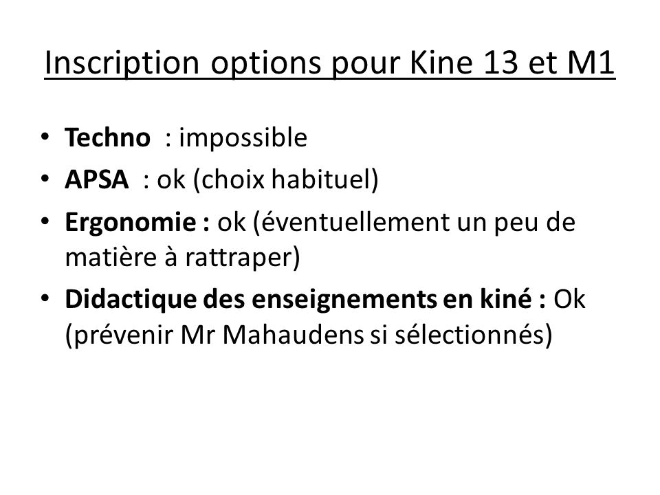 Inscription options pour Kine 13 et M1