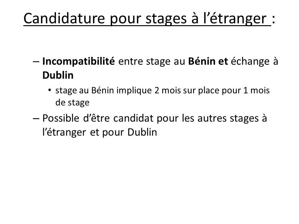 Candidature pour stages à l'étranger :