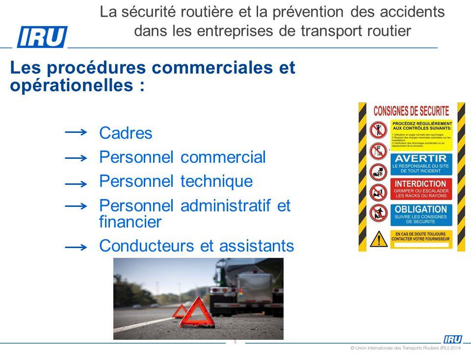 Les procédures commerciales et opérationelles :