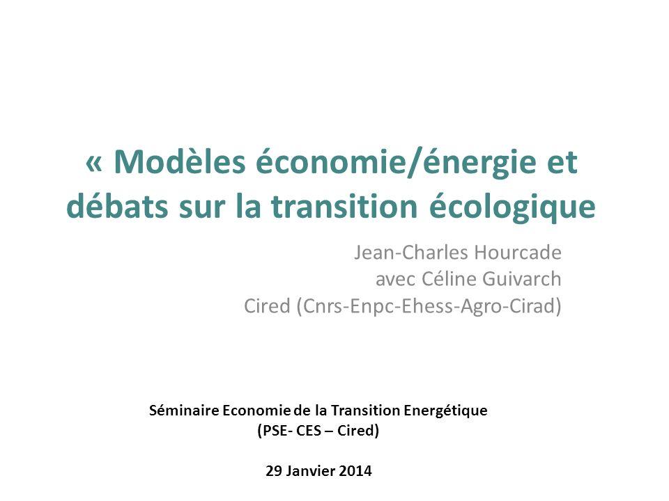 « Modèles économie/énergie et débats sur la transition écologique
