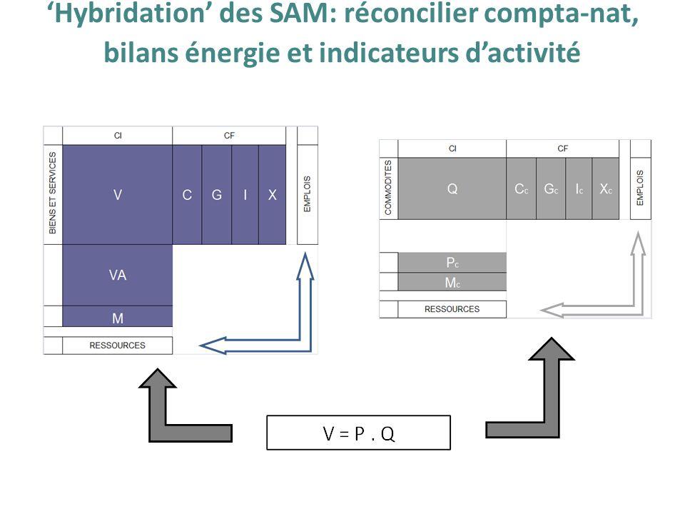 'Hybridation' des SAM: réconcilier compta-nat, bilans énergie et indicateurs d'activité