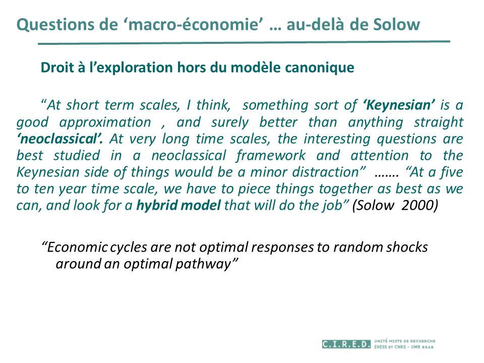Questions de 'macro-économie' … au-delà de Solow