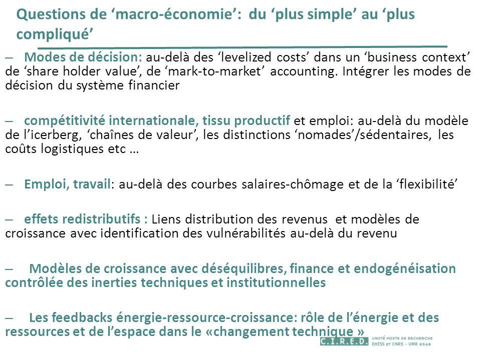 Questions de 'macro-économie': du 'plus simple' au 'plus compliqué'