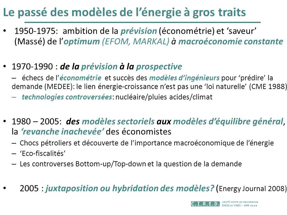 Le passé des modèles de l'énergie à gros traits