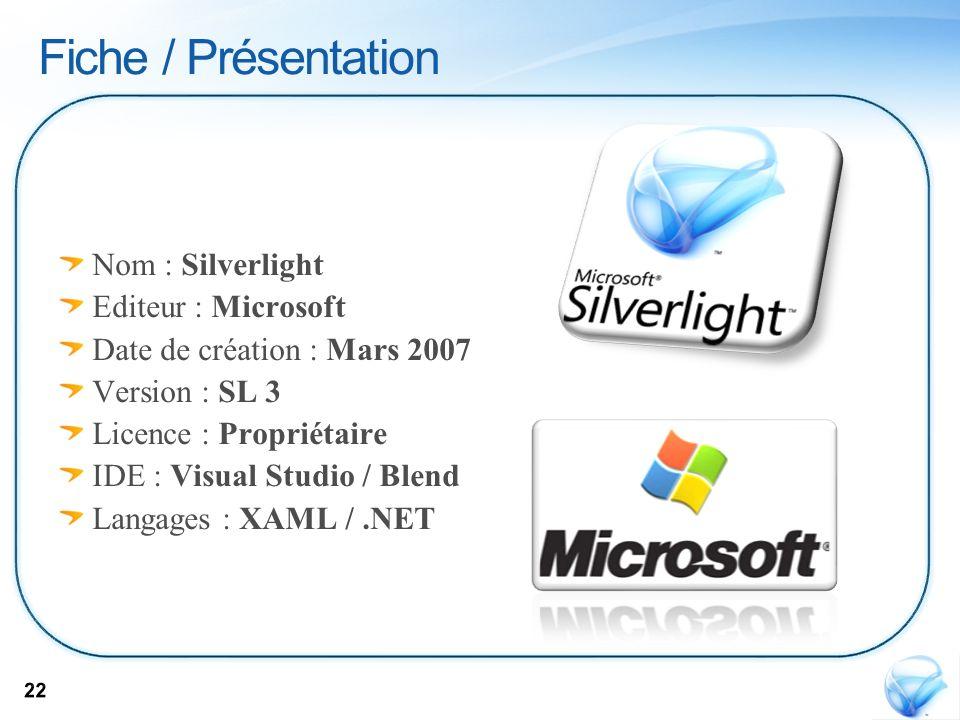 Fiche / Présentation Nom : Silverlight Editeur : Microsoft