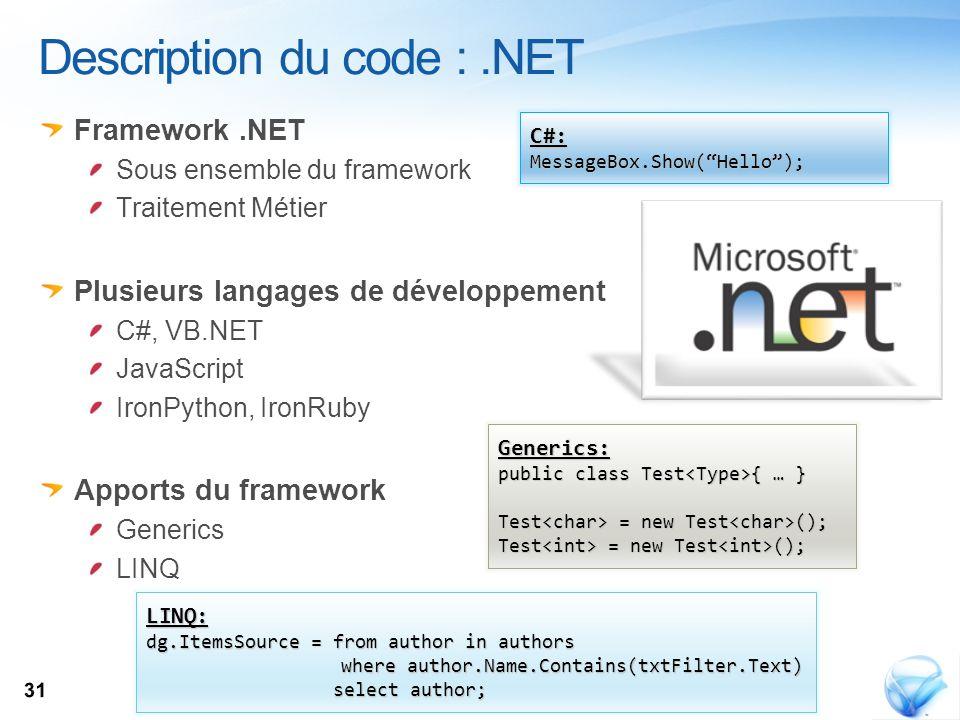 Description du code : .NET