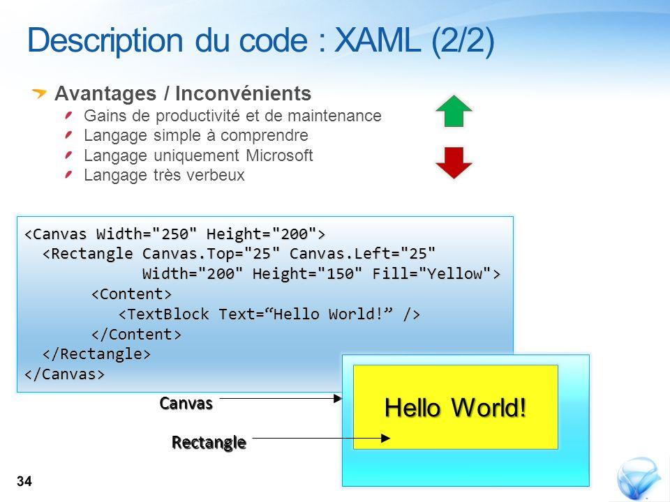 Description du code : XAML (2/2)