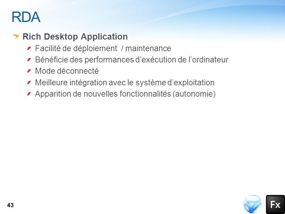 RDA Rich Desktop Application Facilité de déploiement / maintenance