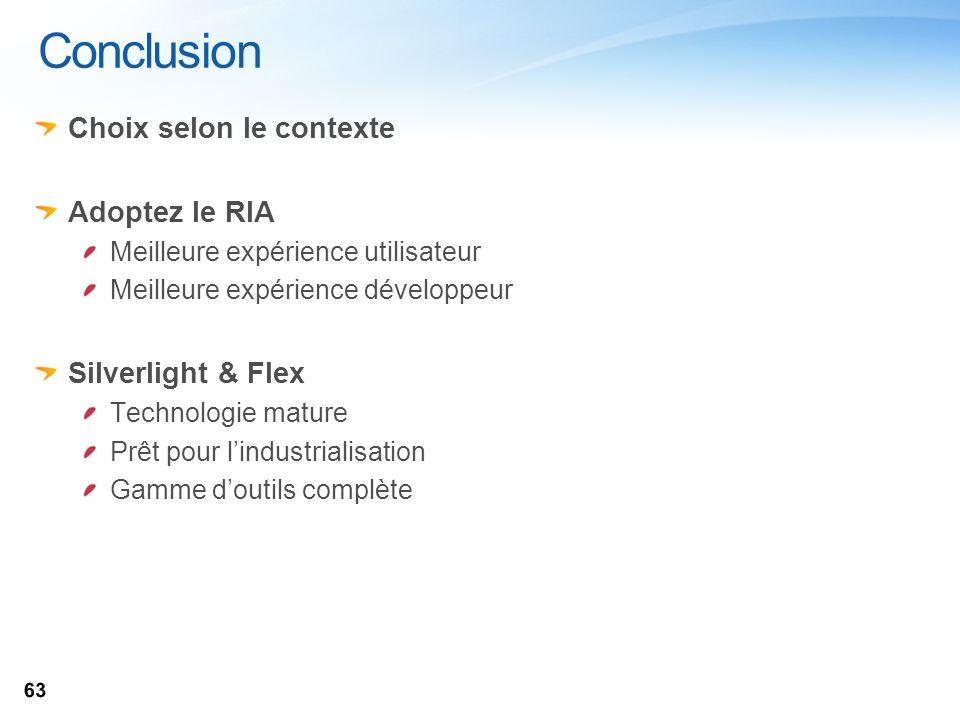 Conclusion Choix selon le contexte Adoptez le RIA Silverlight & Flex