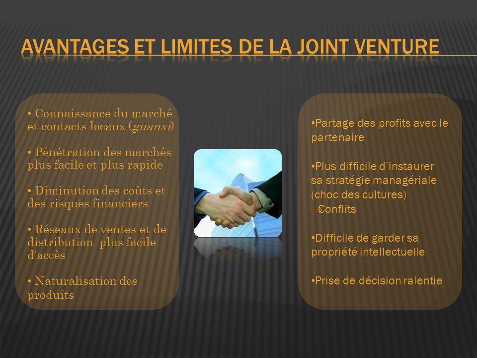 Avantages et limites de la Joint Venture