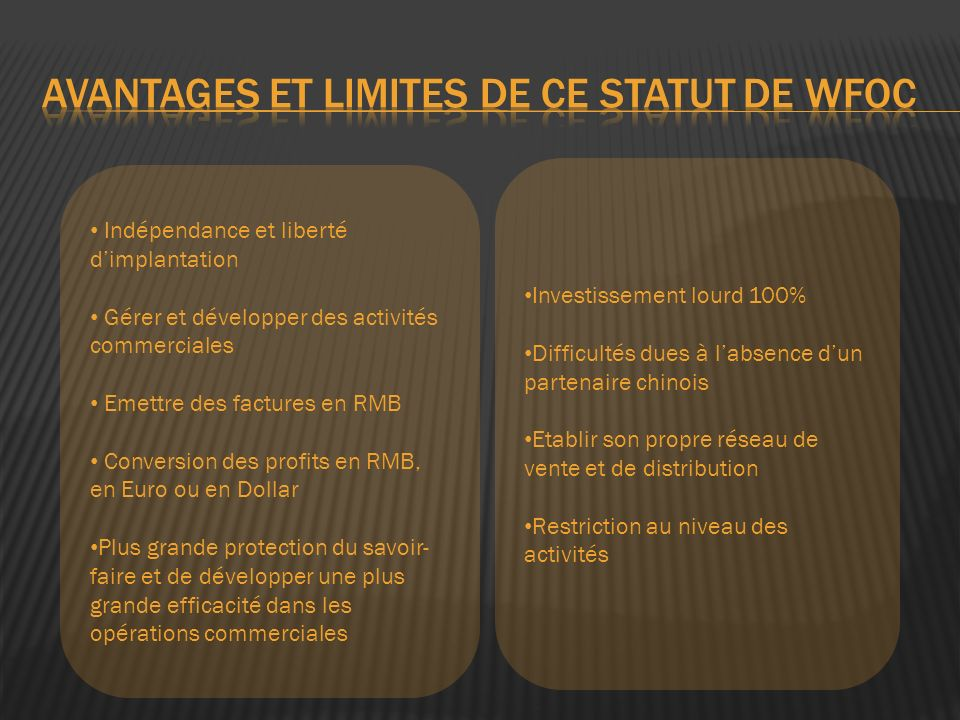 avantages et limites de ce statut de WFOc