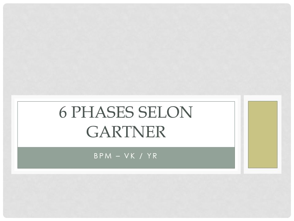 6 phases selon Gartner BPM – VK / YR