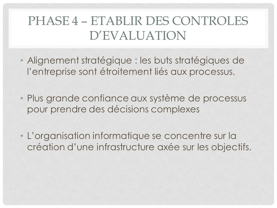 Phase 4 – Etablir des controles d'evaluation