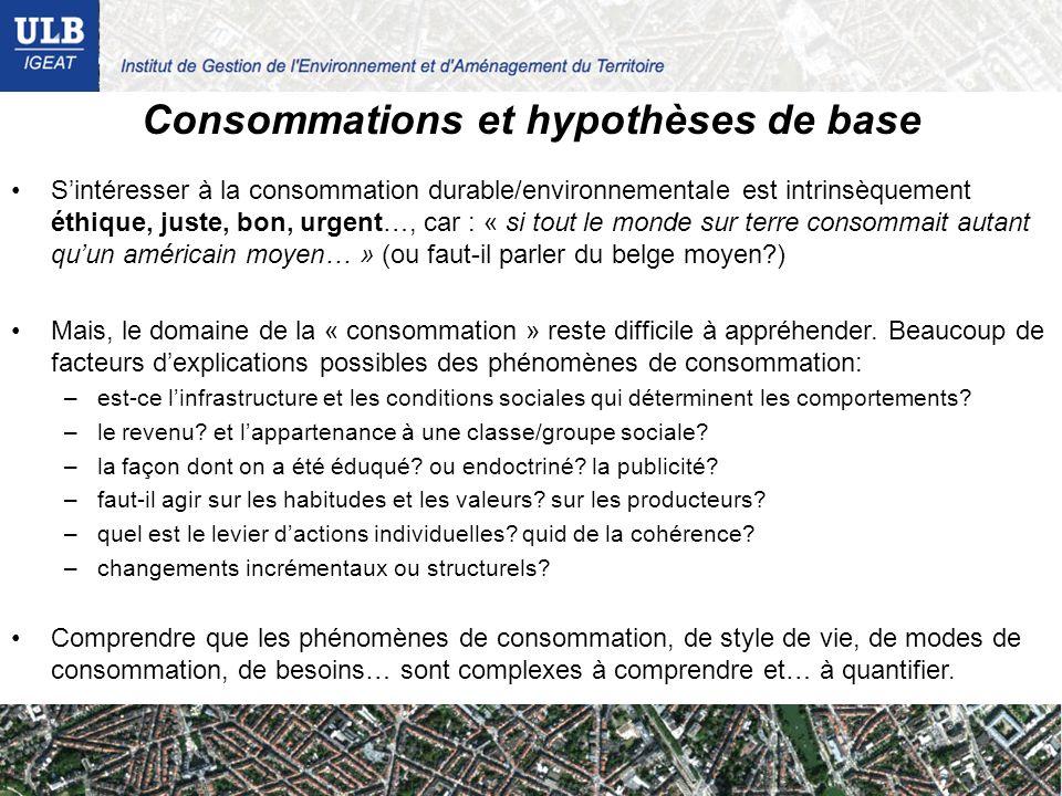 Consommations et hypothèses de base