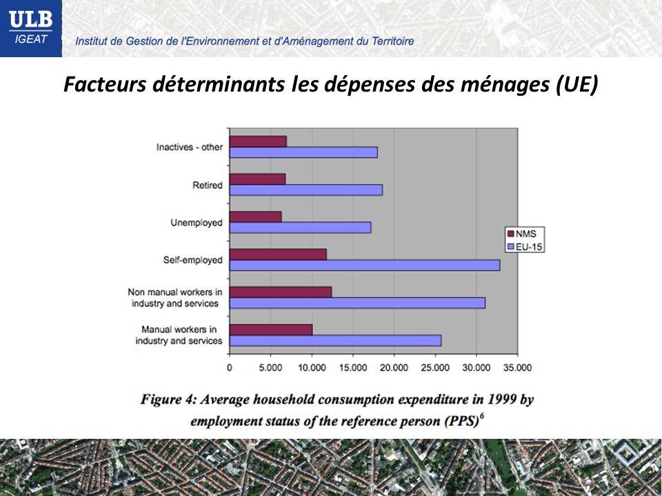 Facteurs déterminants les dépenses des ménages (UE)