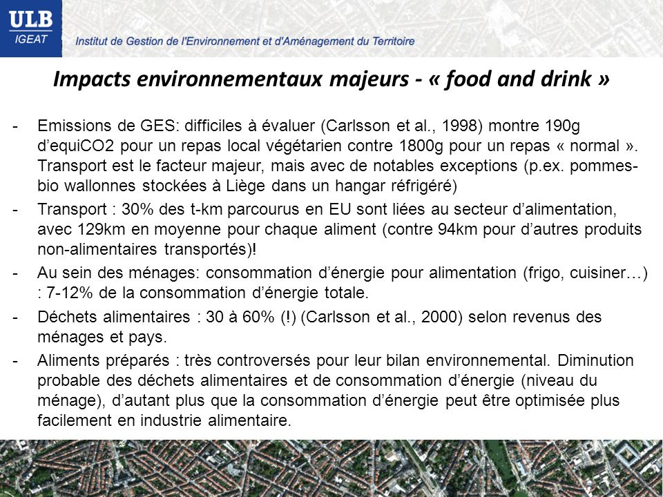Impacts environnementaux majeurs - « food and drink »