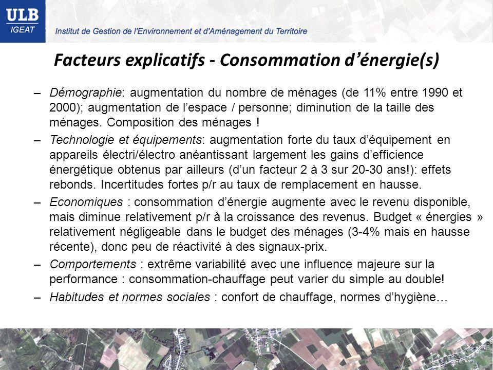 Facteurs explicatifs - Consommation d'énergie(s)