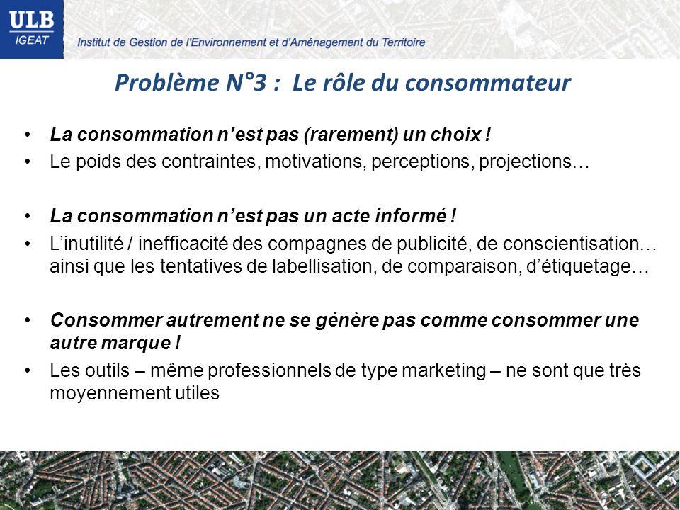 Problème N°3 : Le rôle du consommateur