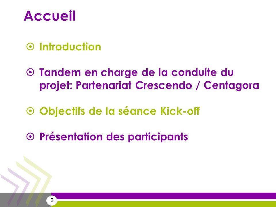 Accueil Introduction. Tandem en charge de la conduite du projet: Partenariat Crescendo / Centagora.