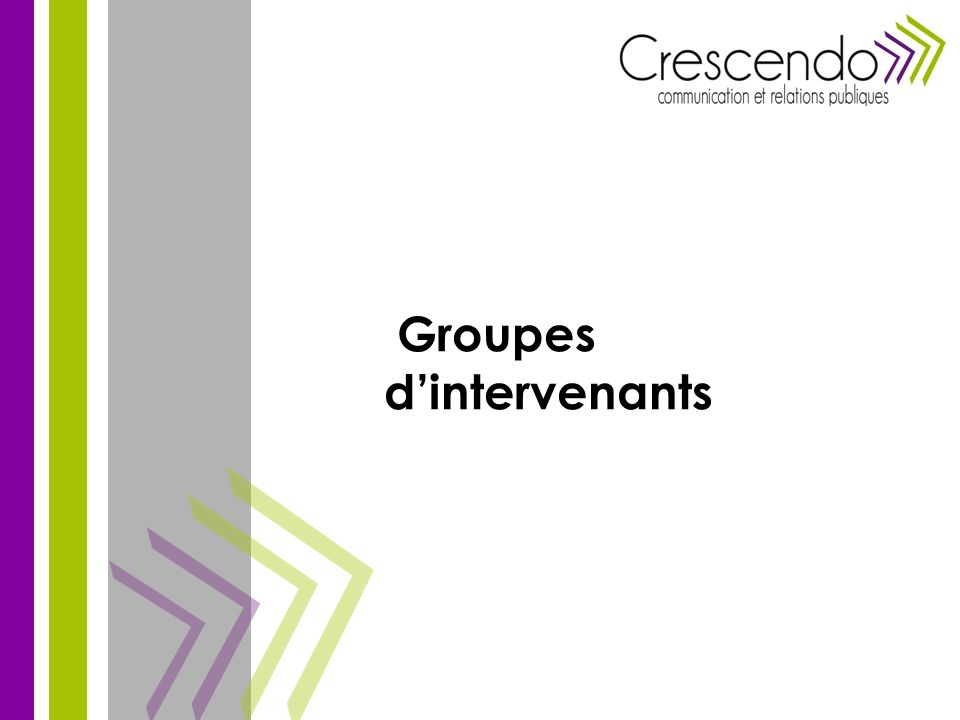 Groupes d'intervenants