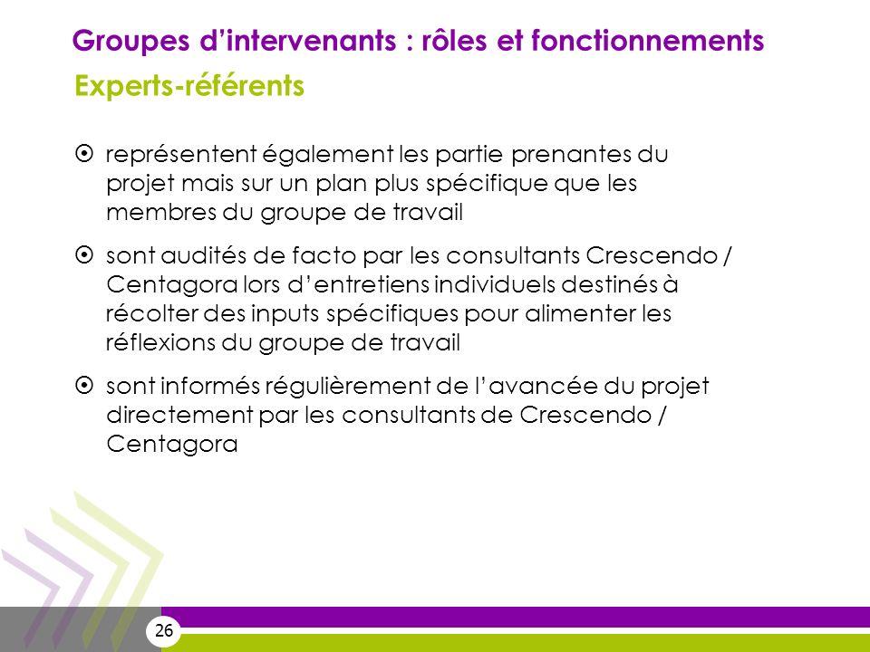 Groupes d'intervenants : rôles et fonctionnements