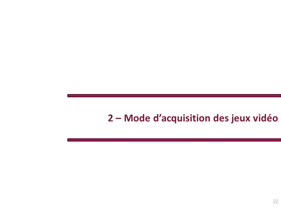 2 – Mode d'acquisition des jeux vidéo